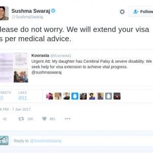 Sushma Swaraj reply to tweet for visa extension